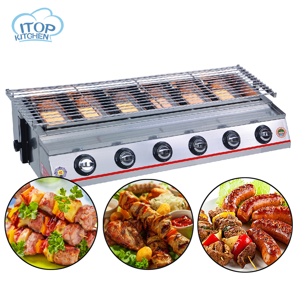 Stainless Steel 6 burners Gas BBQ Grill Barbecue Outdoor Picnic Baking Smokeless Garden Adjustable Height Stainless Steel 6 burners Gas BBQ Grill Barbecue Outdoor Picnic Baking Smokeless Garden Adjustable Height