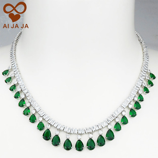Luxury Square & Water Drop CZ Diamonds Paved Emerald Green Wedding Necklace Pendant For Women Bride Party Engagement Anniversary