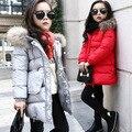 Los nuevos niños del invierno Coreano gruesa capa de las muchachas chaqueta de la capa larga de la muchacha