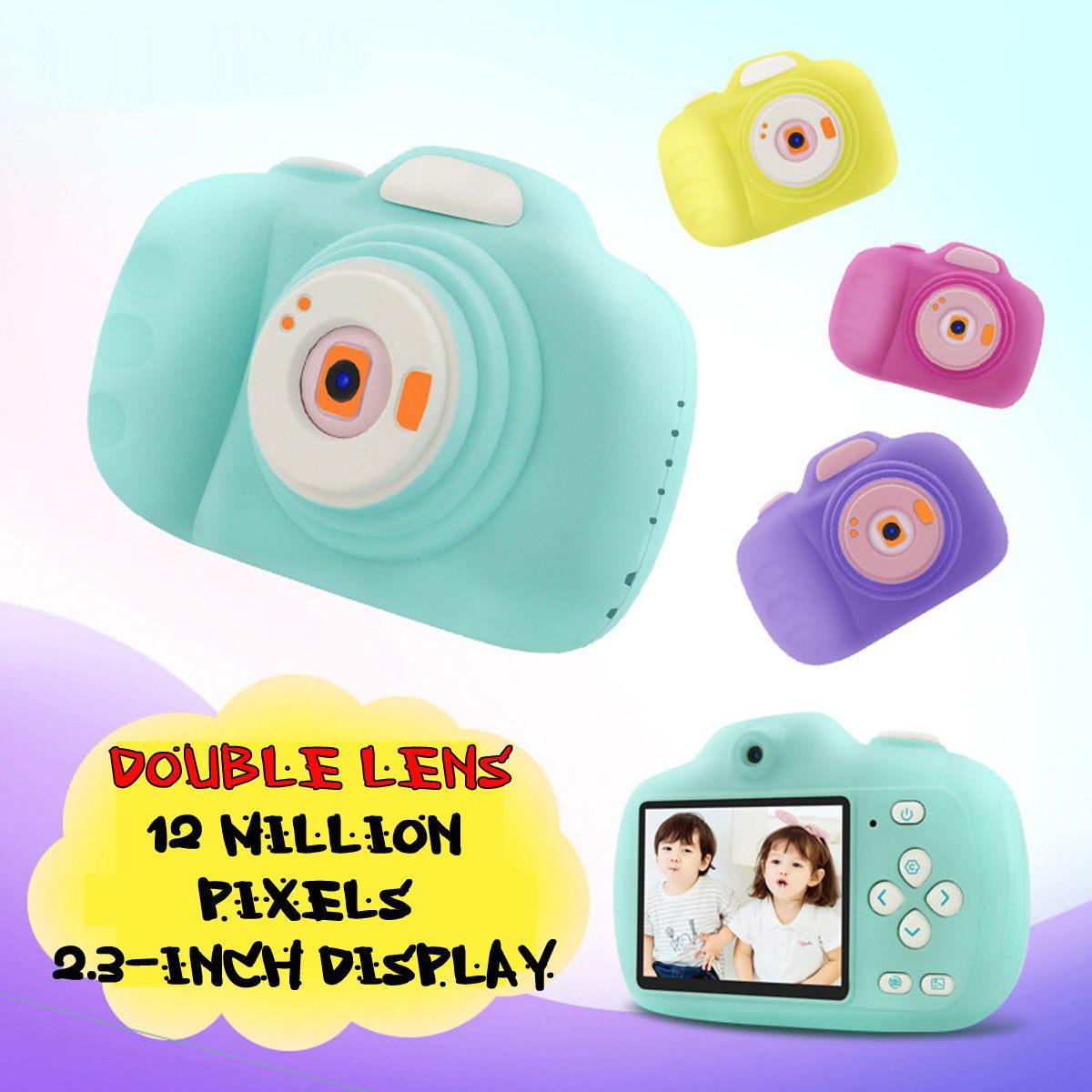 Caméra numérique enfant Double objectif dessin animé Mini caméra numérique HD prise de vue Autofocus avec lecteur de carte mémoire 16g
