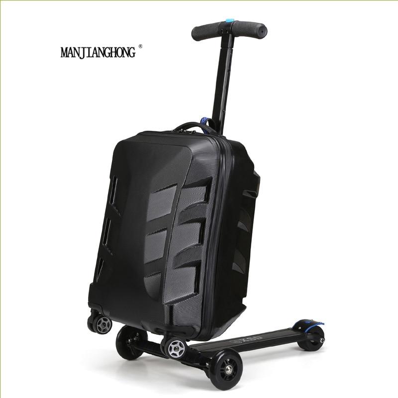 цены на 100% PC fashion 20 inch students scooter trolley suitcase/boy cool 3D cover extrusion business trip child luggage boarding box в интернет-магазинах