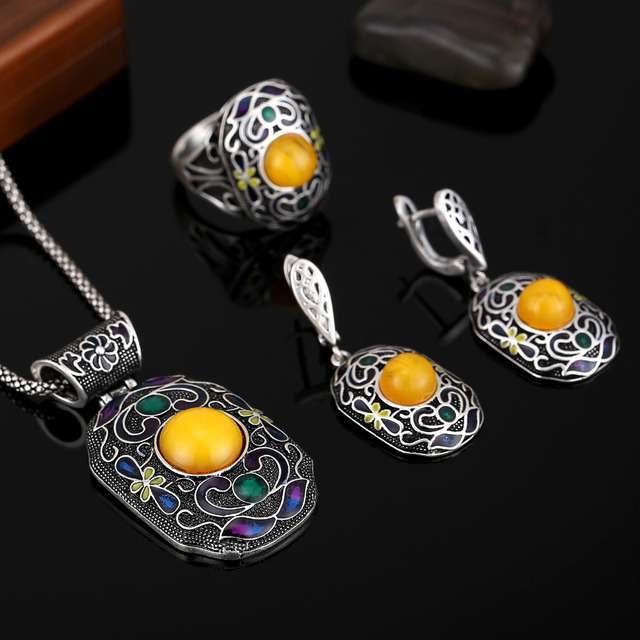 HENSEN 2016 New Fashion Turkish Jewelry Set Antique Silver Plated Enamel And Resin Vintage Ethnic Jewellery Sets For Women