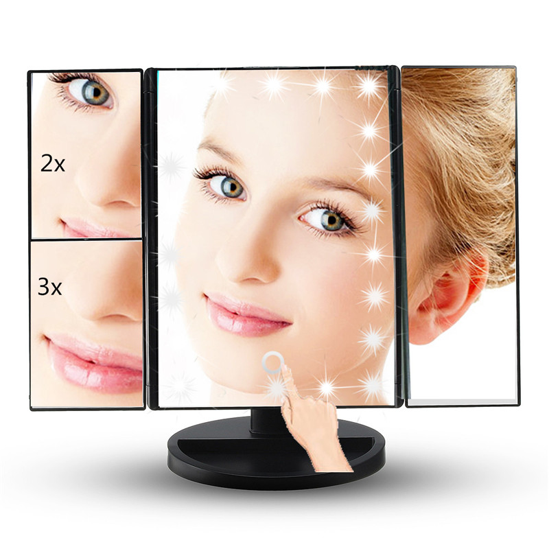 3 Folding Touch Screen Led Light Makeup Mirror 1X/2X/3X Led Magnifying Mirrors Table Desktop Makeup Vanity Mirror With Lights