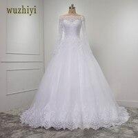 Wuzhiyi vestidosデノビアレースボールガウンロングスリーブウェディングドレス2017 casamentoレースビーズウェディングドレスプラスサイズドレス