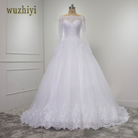 Wuzhiyi Vestidos De Novia Lace Mermaid Long Wedding Dresses 2017 Casamento Beading Waist Sashes Wedding Gowns