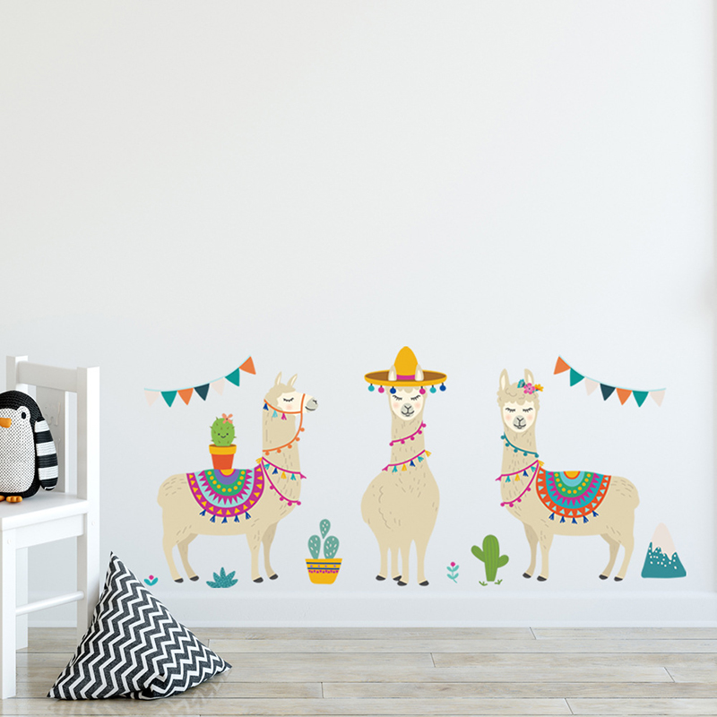 Us 4 99 30 Off Cartoon Llama Animals Indian Style Alpacas Wall Stickers For Kids Rooms Nursery Decor Art Home Decoration Accessories In