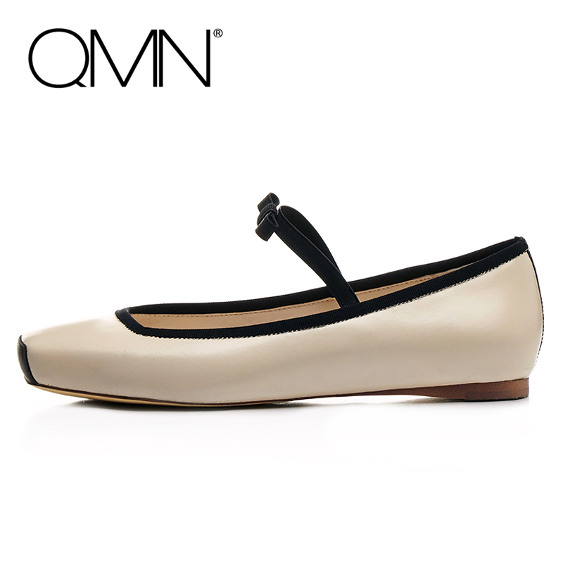 QMN women elastic-trimmed bow-embellished paneled leather ballet flats Women Square Toe Slip On Shoes Woman Real Leather Flats qmn women crystal embellished natural suede brogue shoes women square toe platform oxfords shoes woman genuine leather flats