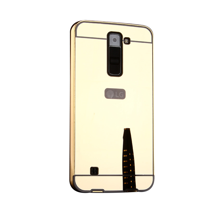 new style a068c 5bb28 US $3.59 |Luxury Gold Plating Aluminum Case Mirror Chrome Cover For LG K8  K350N Hybrid Back Cover Capas-in Fitted Cases from Cellphones & ...