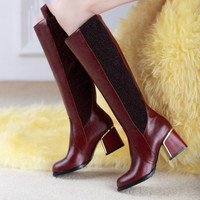 Mixed Colors Fashion Women Boots Autumn And Winter Thick Heels Knight Boots Stretch Knee High Shoes