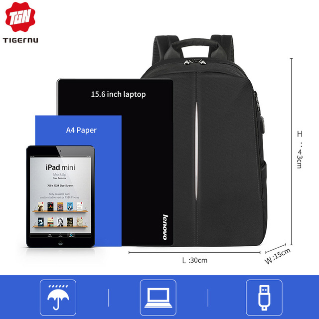 Tigernu 2019 New Fashion Backpack Men 4.0A USB Charging 15.6 inch Laptop Travel Bags Multifunction Male Female Schoolbags Casual 1