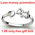 Lose money promotion 2016 fashion cute little dog animal 30% percent silver plated ladies`adjustable finger rings jewelry