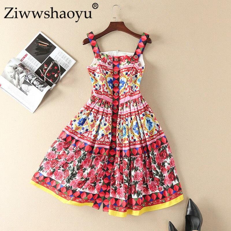 Ziwwshaoyu printemps été marque de piste Rose imprime femmes robes décontractées Spaghetti sangle mignon bouton Fit robe