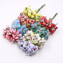 6pcs 3cm Silk Stamens Chrysanthemum Handmade Artificial Flower Bouquet Wedding Decoration DIY Wreath Scissors Crafts Fake Flower(China)
