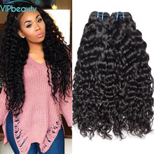 VIP beauty Indian water wave non remy hair extension ,human hair weave bundles 1pcs/3pcs/4pcs natural color 1b ,can be dyed(China)