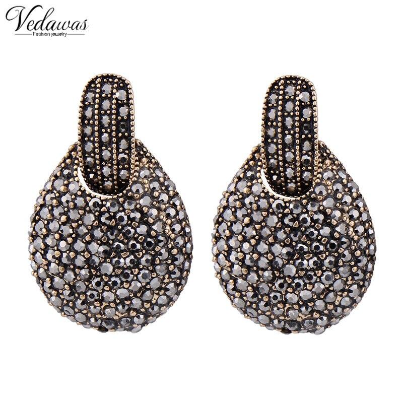 Vedawas 2017 New fashion women statement new design big black crystal stud font b Earrings b