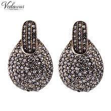 Vedawas 2017 New fashion women statement new design big black crystal stud Earrings for women Factory Price 1270