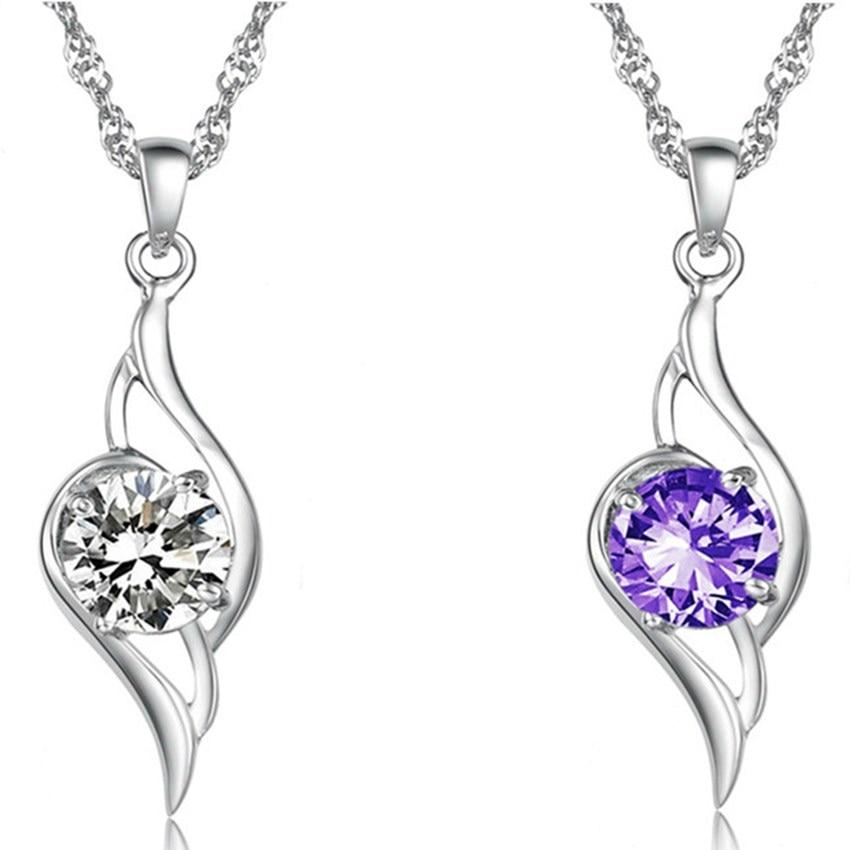2018 New fashion aesthetic beautiful wings pendant femininity simple silver jewelry luxury AAA crystal necklace pendant