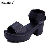 RizaBina Women Gladiator High Heel Sandals Platform Peep Toe Solid Color Thick Heel Sandals Summer Daily