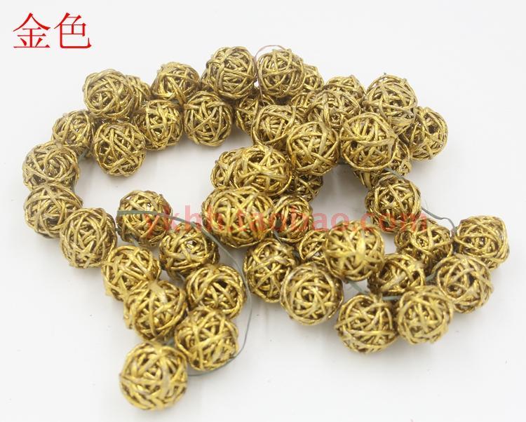 3 cm rattan bolas navidad oro del rbol colgante decoraci n bolas a623 - Arbol navidad ratan ...
