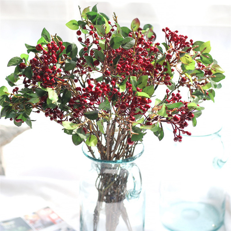 Fake Fruit Simulation Artificial Flowers Plants Grass Craft Plastic Fake Branches Berry Succulents Plant Leaves Home Decoration