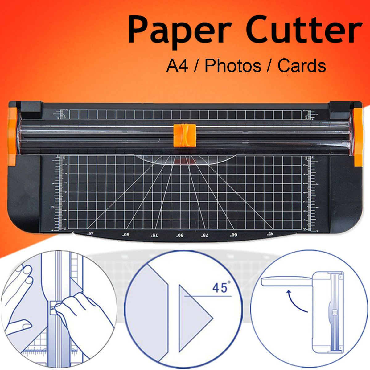 Accuracy A4 Paper Trimmer Cutters Guillotine Photo Cutter Cutting Mat With Pull-out Ruler For Photo Paper Labels Cutting