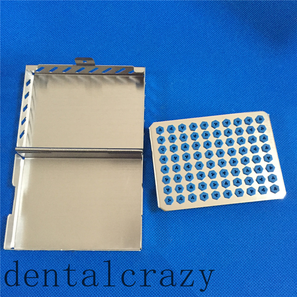 Best Dental Tray for Implant Drill Bur Stainless Case Sterilization 80Holder 1pc dental tool implant bur drill sterilization cassette kit organizer box new