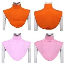 Fashion 1Pc Women Muslim Hot Retro Solid Free Size Stretch Elastic Adjustable Detachable Collar