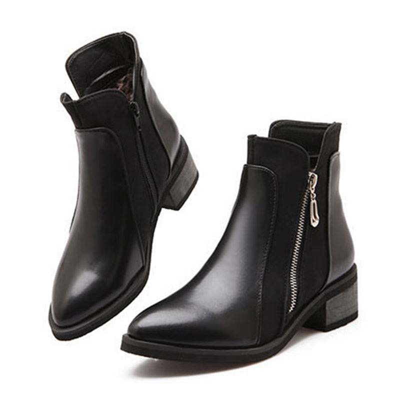 Ankle Boots For Women Boots Square Heels Pointed Toe Botas