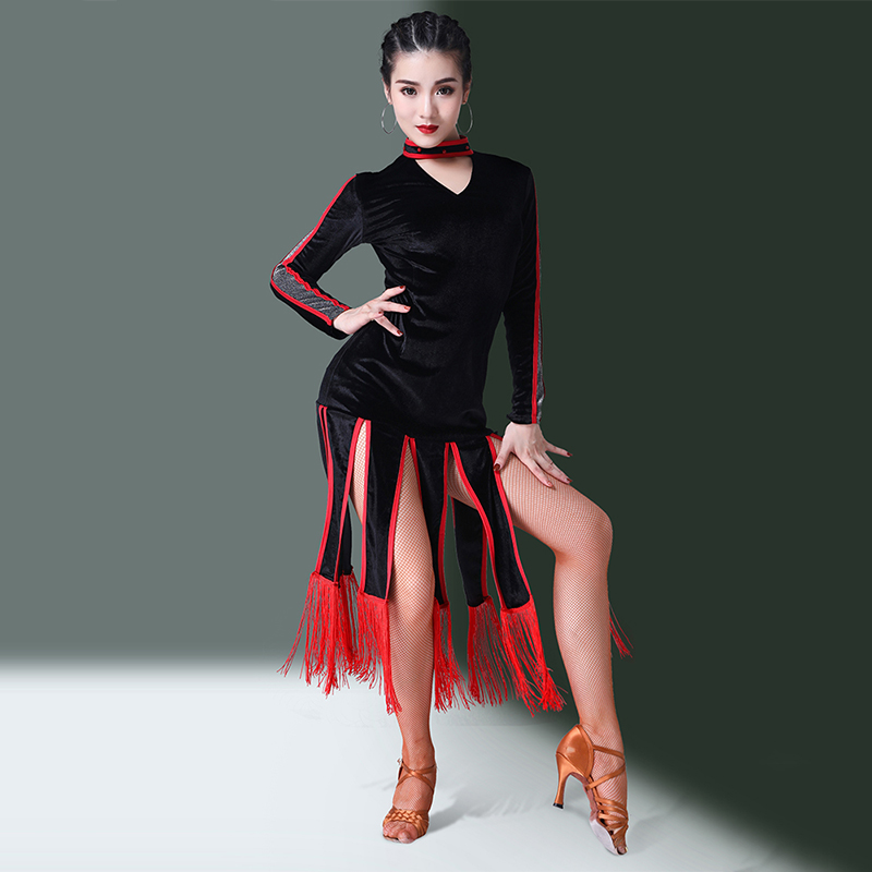 Latin Dance Dress Long Sleeve Velvet Ladies Red Fringed Skirt Rumba Cha Cha Samba Ompetition Performance Dancewear Women DN2891