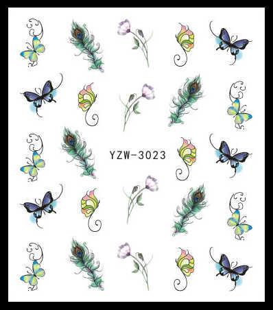 LCJ 1 PC Stiker Kuku Air Decals Butterfly Floral Hewan Hitam Putih Geometri Slider Manikur Kuku Seni Dekorasi