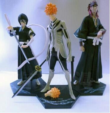 ФОТО Anime Bleach Kurosaki ichigo Kuchiki Rukia Abarai Renji PVC Action Figures Collectible Toys 3pcs/set BLFG016