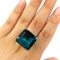 7 # Большой Драгоценный Камень Насыщенного Синего Цвета Аквамарин SheCrown Свадьбы женщины Серебряное Кольцо 22 х 22 мм