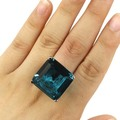 7# Big Gemstone Rich Blue Aquamarine SheCrown Woman's Wedding  Silver Ring 22x22mm