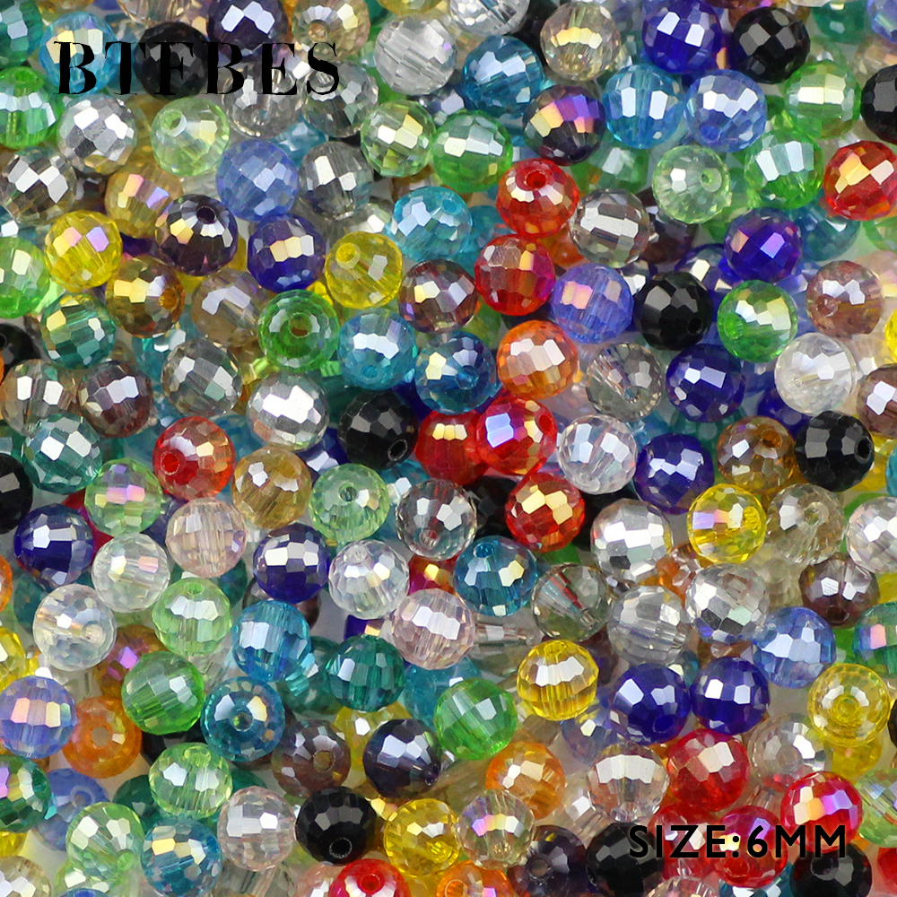 BTFBES 96 Faceted Ball Austrian Crystal Beads 6mm 50pcs Glass Round Loose Beads For Jewelry Making Bracelet Necklace Earring DIY in Beads from Jewelry Accessories