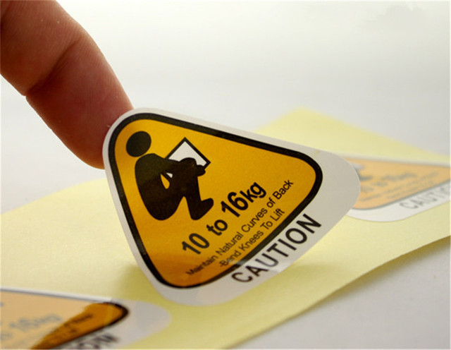 Customized logo name paper label printed glossy paper sticker printing laminated caution stickers 1000pcs