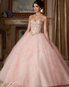 Princess Popular Puffy Ball Gown Coral Quinceanera Dresses 2018 Cheap Sweet 16 Dress Vestido De 15 Anos Custom(China)