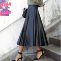 2016 New Pu Waisted Pleated long black Leather maxi Section Of Half midi high waist skirts for womens faldas largas mujer cortas