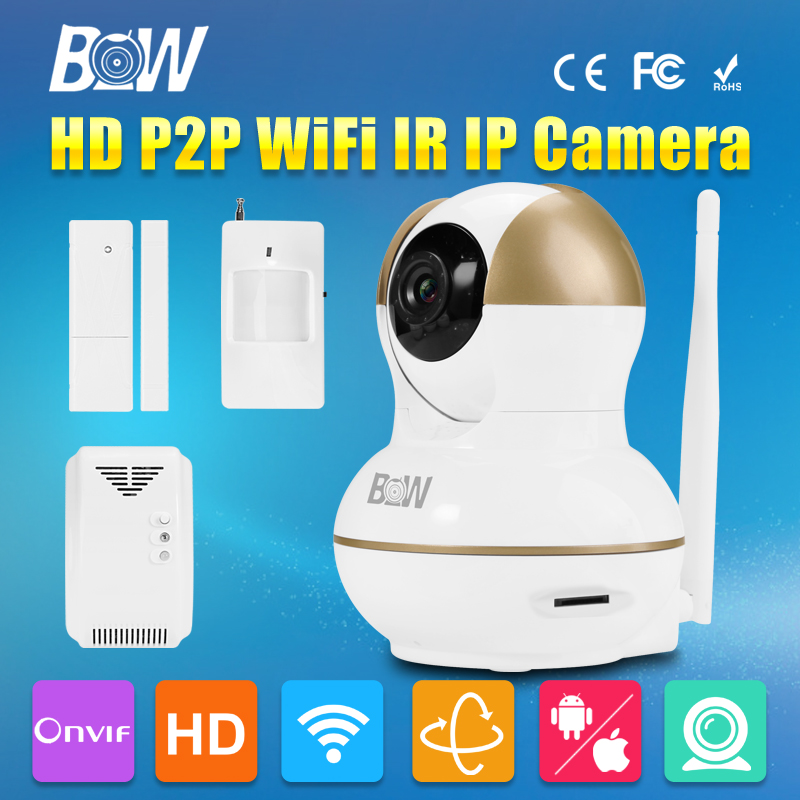 BW HD 720P IP Camera WiFi P2P Wireless Surveillance Camera + Infrared Motion & Door Sensor + Gas Detector Automatic Alarm bw wireless wifi door