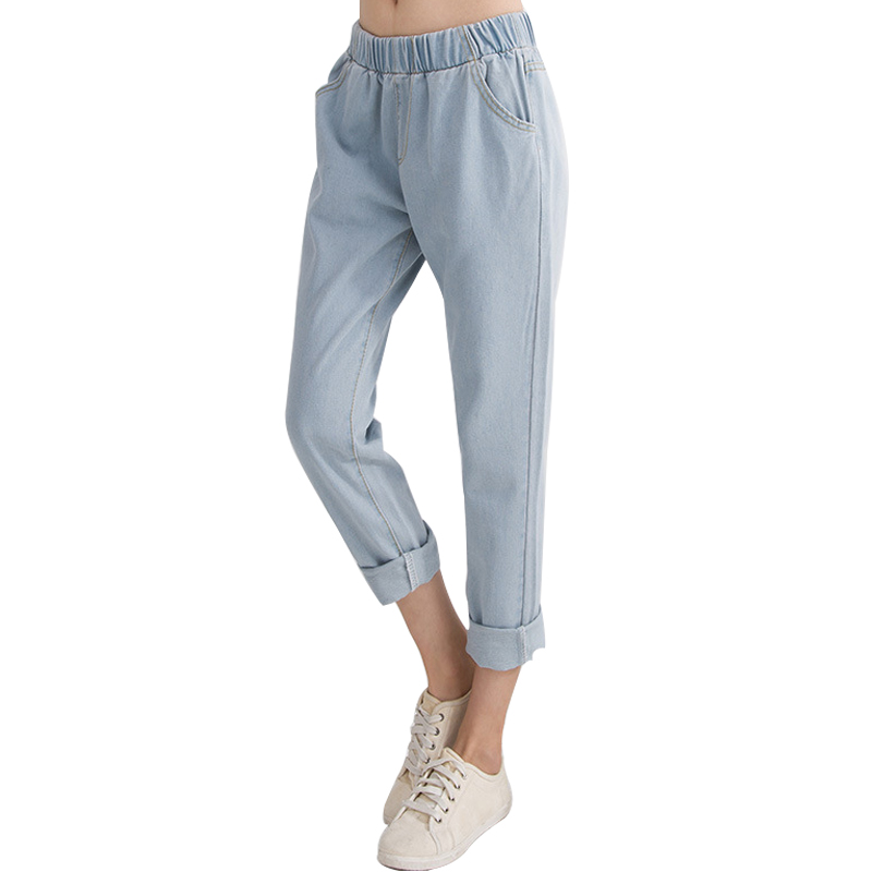 Women pants 2017 spring and autumn new fashion jeans loose middle waist light blue leisure trousers elastic waist European style