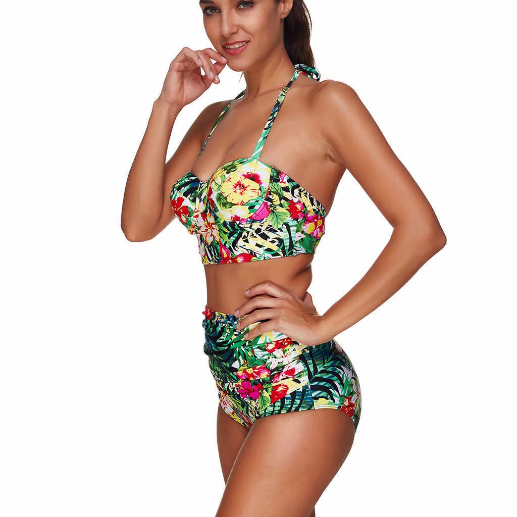 2019 ブラジルプッシュ入りハイウエストビキニセット女性プリントホルター水着プラスサイズ水泳水着 Biquini