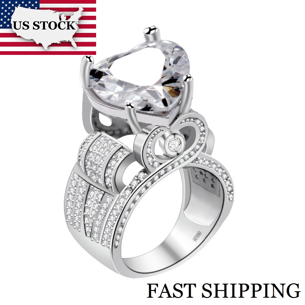 US $6 61 25% OFF|USA STOCK Uloveido Love Heart Engagement Rings for Women  Big Statement Ring with Stone Cubic Zirconia Wedding Jewelry Gifts Y429-in