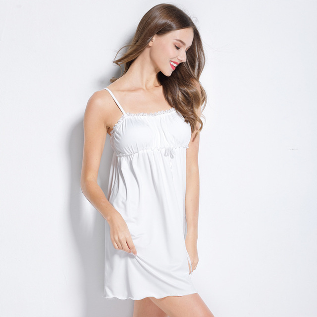 Female sexy dress cotton Women Nightgowns Night Dress Sexy Spaghetti Strap  Home Dress Lace Casual Babydoll 57fa28eb0