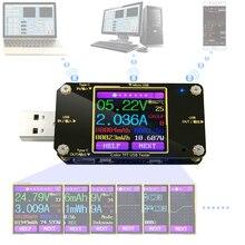 Voltímetro digital a3 usb, testador de cor bluetooth tipo c, voltímetro digital dc, medidor de tensão, amperímetro, detector, indicador do carregador, bateria