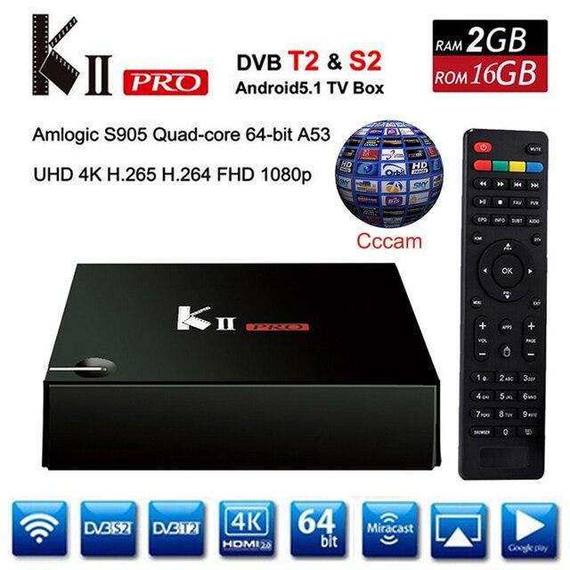 KII Pro DVB-S2/DVB-T2 Caixa de TV Android 5.1 2G 16G S905 Amlogic Quad Core BT 4 K 1080 P Media Player Inteligente Com 3 linhas Cccam Europa