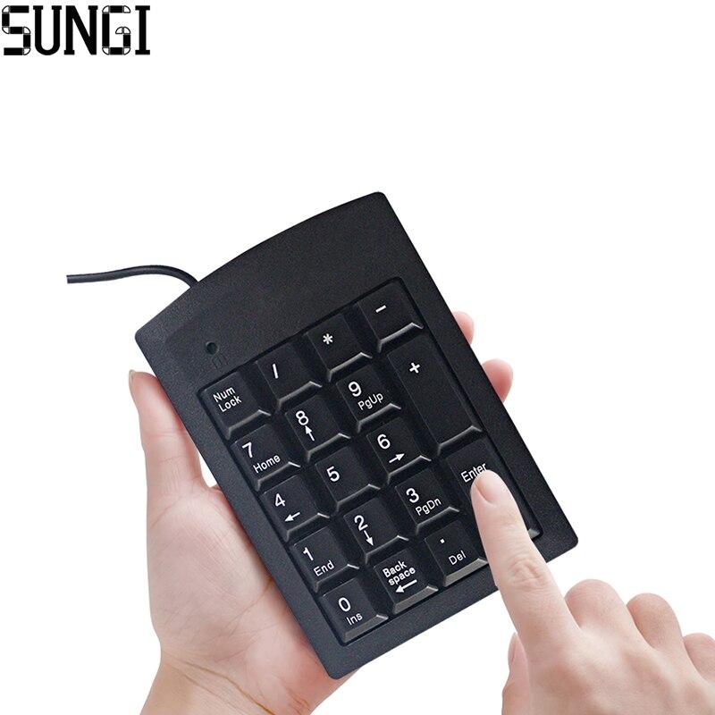 Najnovejša ožičena mini USB numerična tipkovnica Ultra tanka ergonomija Oblikovna številka 18 tipk za prenosni računalnik prenosni računalnik črna barva