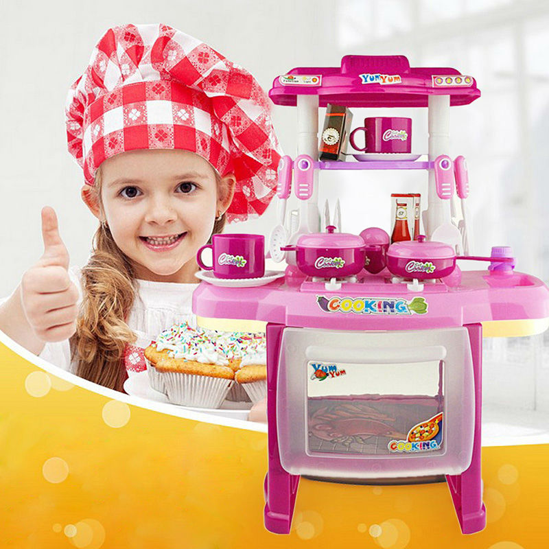 Beauty Kitchen Set Plastic Pretend Play Cooking Toy With Light And