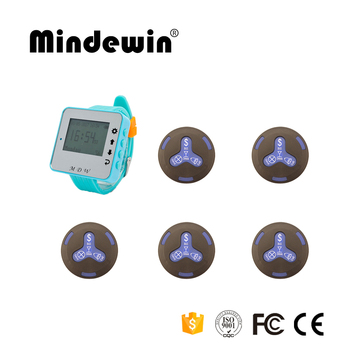 Mindewin Cafe Shop Call Waiter Service 1pc M-W-1 Watch Pager +5pcs M-K-4 Waiter Call Buttons Wireless Pager Systems