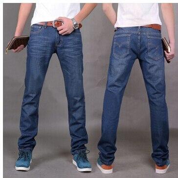 Fashion Men's Jeans Casual Jean Trousers Straight Denim Jeans Blue Color Famous Brand Biker Jeans, 100% Cotton, Size 38 women girls casual vintage wash straight leg denim overall suspender jean trousers pants dark blue