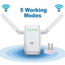300Mbps Mini Wireless Wifi Signal Booster Repeater mit 2 RJ45 Port Dual Antenne Mit AP Repeater Router Client Bridge modi(China)