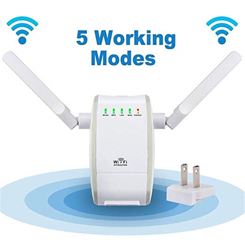 300Mbps Mini Wireless Wifi Signal Booster Repeater with 2 RJ45 Port Dual Antenna With AP Repeater Router Client Bridge Modes-in Wireless Routers from Computer & Office